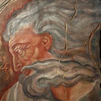 Il Creatore, particolare Cappella Sistina, omaggio a Michelangelo Tempera su tavola in gesso